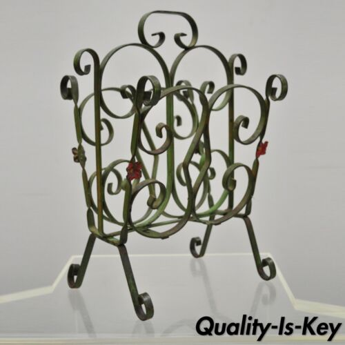 Antique Art Nouveau French Style Wrought Iron Small Green Magazine Rack Flowers