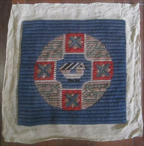 TAPESTRY Handmade 1920's VINTAGE ANTIQUE Square Needlepoint Long stitch Gothic