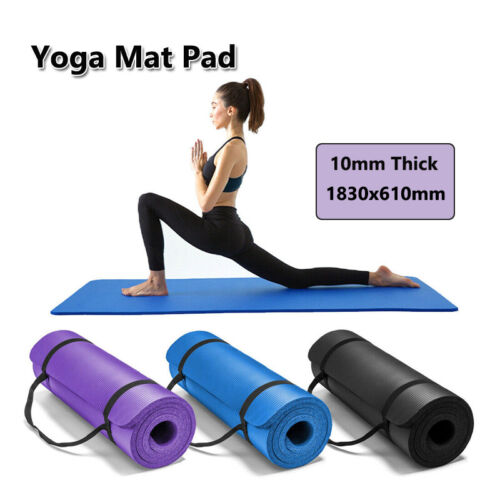 Thick Yoga Mat Pad 10MM NBR Nonslip Exercise Fitness Pilate Gym Durable AU
