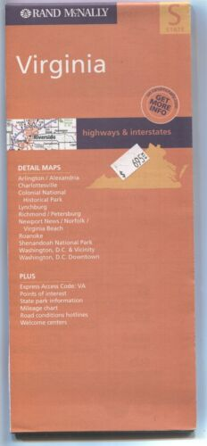 Rand-McNally state map: VIRGINIA - c.2003 - paper - highway & interstates