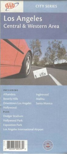 Old AAA Map Guide LOS ANGELES CITY Central & Western Area + California + 2002 +