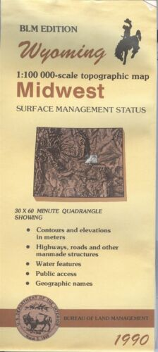 USGS BLM edition topographic map Wyomoing MIDWEST 1990