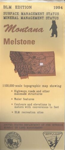 USGS BLM edition topographic map Montana MELSTONE -1994- mineral -  100K
