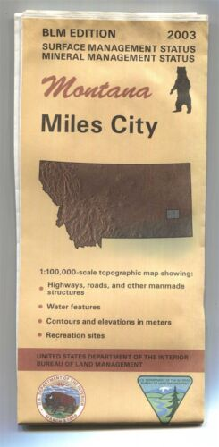 USGS BLM edition topographic map Montana MILES CITY - 2003 - mineral - 1:100,000