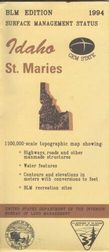 USGS BLM edition topographic map Idaho ST. MARIES -1994- surface - 100K -