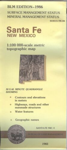 USGS BLM edition topographic map New Mexico - SANTA FE - 1986 - mineral - 100K -