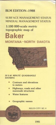 USGS BLM edition topographic map Montana BAKER 1988 MILES CITY SE/4  mineral