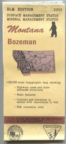 USGS BLM edition topographic map BOZEMAN Montana 2001 + surface + mineral +