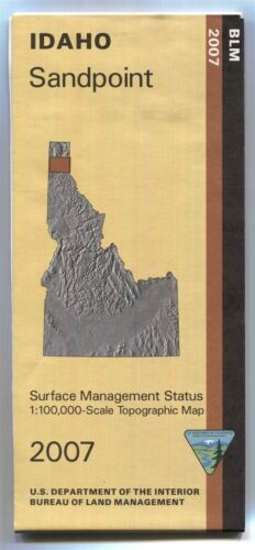 USGS BLM edition topographic map Idaho SANDPOINT - 2007 - surface - 100K -