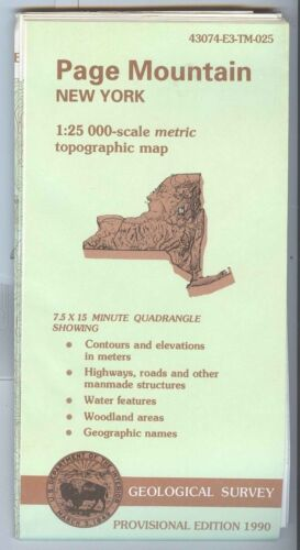 USGS Topographic Map PAGE MOUNTAIN - New York - 1990 provisional - 25K -