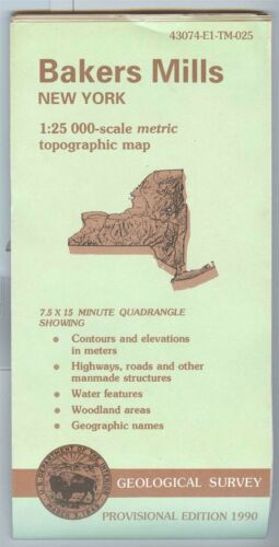USGS Topographic Map BAKERS MILLS - New York - 1990 provisional - 25K -