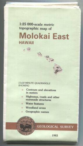 USGS topographic map 1:25,000 Hawaii - MOLOKAI EAST - 1983 - 34 x 54 inches -