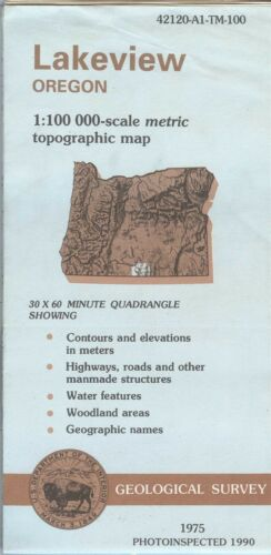 USGS Topographic Map LAKEVIEW - Oregon - 1975 photoinspected 1990 - 100K -