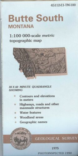 USGS Topographic Map  BUTTE SOUTH - Montana - 1990 - 100K -