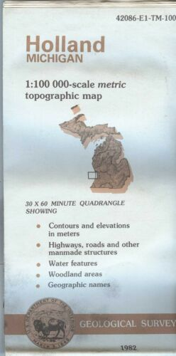 USGS Topographic Map HOLLAND - Michigan - 1982 - Extremely BAD - 100K -