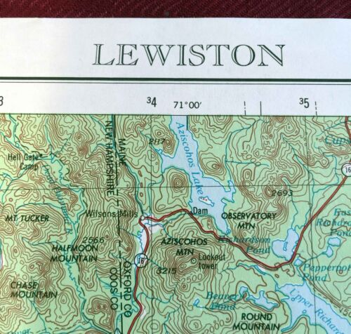 USGS Topographic Map LEWISTON Maine NH Vermont USA -1975- 250K - 1° X 2° -flat-