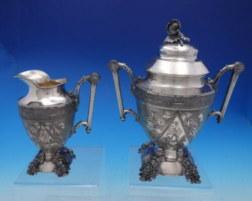Japanese by Simpson Hall Miller and Co Silverplate Sugar Creamer Set 2pc (#4639)