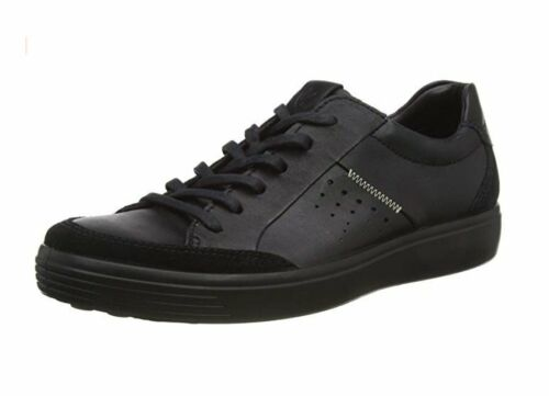 ECCO Soft 7 size EU 49 // UK 13.5 to 14 men's ALL BLACK casual leather shoes NEW