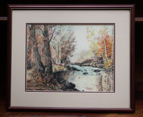 Original signed watercolour painting autumnal mountain stream signed lower right