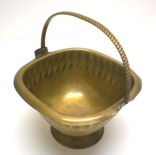 Brass Candy/Nut Basket with Moveable Bail, Colonial India Handmade & Handtooled