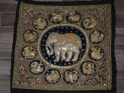 """35"""" x 39"""" Embroidered Elephant & Zodiac Signs Handmade Rug or Wall Hanging"""