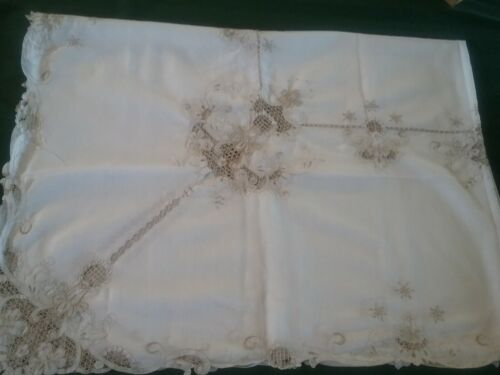 Vintage Table Cloth Embroidered Cut Work Stunning