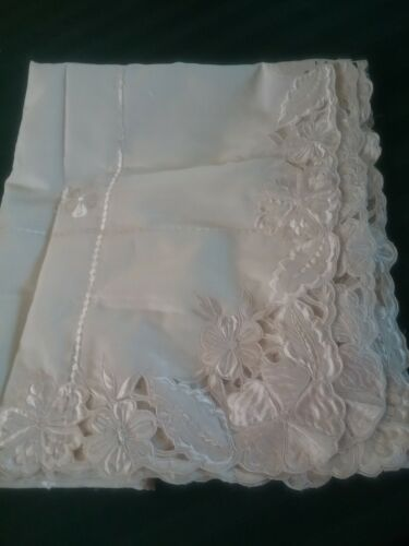 Cream Vintage Table Cloth Oblong Cut Work Embroidery + 8xServiettes