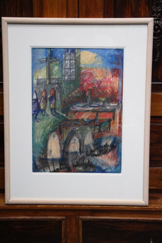 Original art pastel Gothic Church Notre Dame artwork Greenway Gallery painting