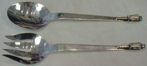 """Blossom by GPR Mexican Sterling Silver Salad Serving Set 3D Flower 10 1/2"""""""