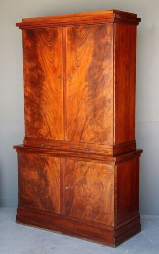 Antique Art Deco French two height sideboard bookcase flame mahogany superb 1930