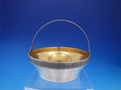 Etruscan Bowl Basket with Gold Washed Interior 916 silver Unknown Maker (#4593)