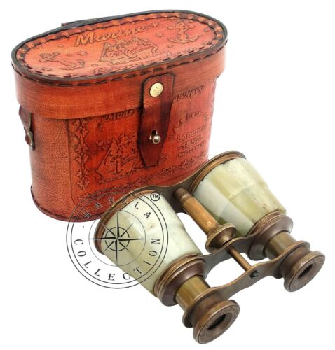 Mother of Pearl Brass Binocular Maritime Antique Telescope With Leather Case