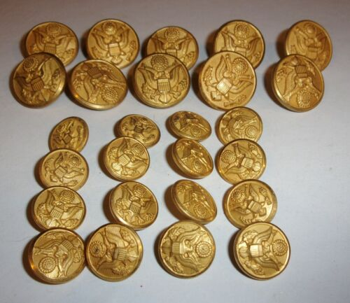 """26 US Military Uniform BUTTONS Waterbury 5/8~7/8"""" Crafts-Clothing GREAT SEALArmy - 66529"""