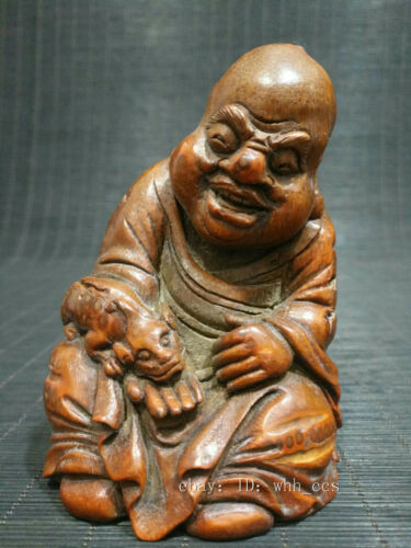 """4.2"""" Chinese antiques Bamboo root Hand-carved Fu Hu Luo Han Statue decoration"""