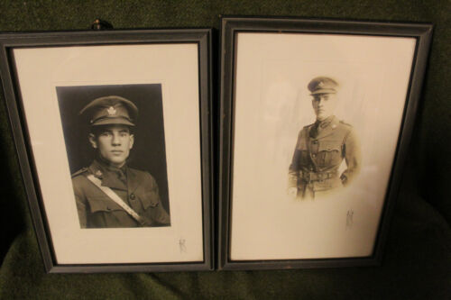 Two Original WW1 Canadian Army Officer's Wood Framed Toronto Studio PhotographsCanada - 13963