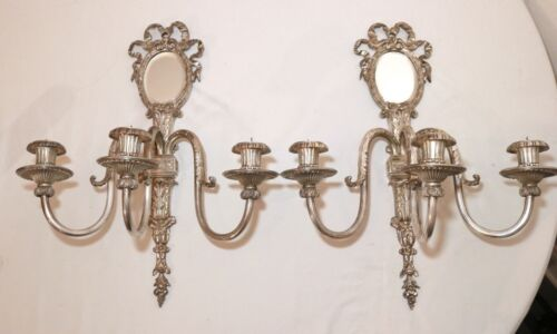 pair of 2 antique ornate Victorian style silverplate wall candle holder sconces