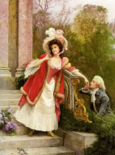 Oil painting jules girardet - the lovers young girl man in spring season canvas