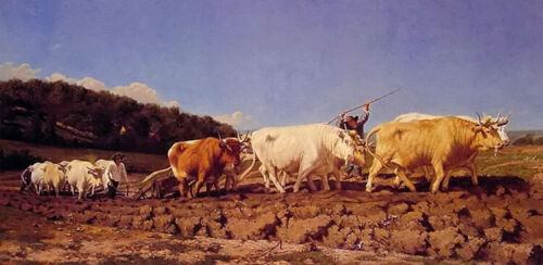 Oil painting jules jacques veyrassat - ploughing in the nivernais cows cattles