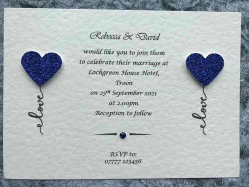 Personalised Wedding Invitations / Evening Invites Handmade With Envelopes