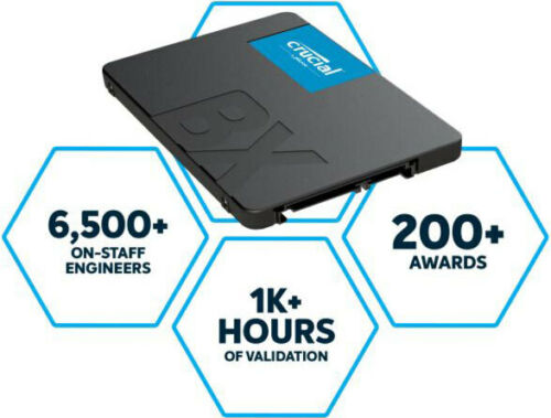 Crucial BX500 480GB 2.5Inch SATA3 SSD 3D NAND 3 Year Warranty Solid State Drive