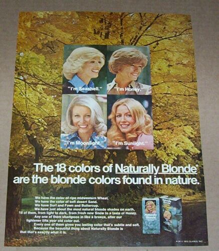 1975 print ad -Clairol Naturally Blonde hair color Pretty Girls advertising page