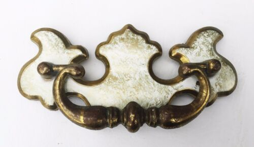 """Brass & White Shabby Colonial Chippendale Antique Hardware Drawer Pull 3"""" center"""