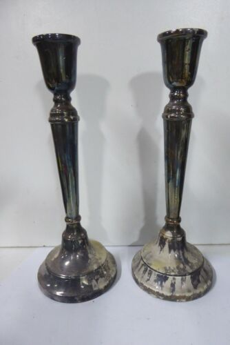 PAIR SILVER PLATED CANDLE STICKS WHITEHILL