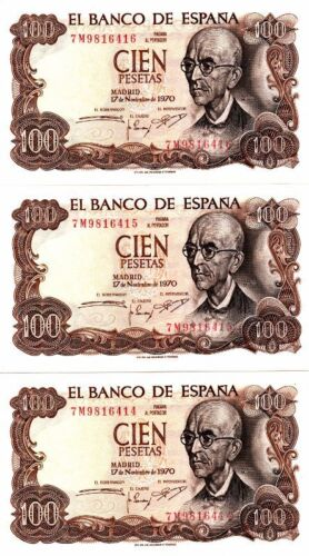 L064 LOTE 3 BILLETES 100 PESETAS 1970 CORRELATIVOS SC