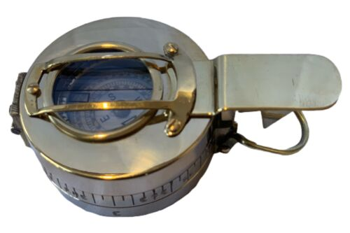 BRITISH PRISMATIC SHINY BRASS COMPASS BRASS COMPASSES SHIPS FROM MELBOURNE