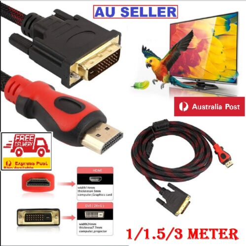 HDMI to DVI Cable Male DVI-D for LCD Monitor Converter Adapter Cable Projectors