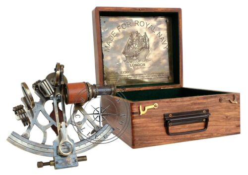 """8"""" Nautical Collectible Working Sextant With Box Marine Antique Brass Astrolabe"""