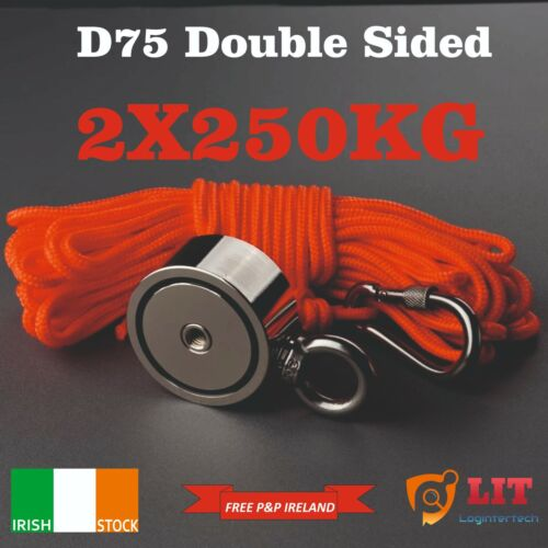 Magnet Fishing Double Sided D75mm 250KG Each Side Neodymium With 20m Rope
