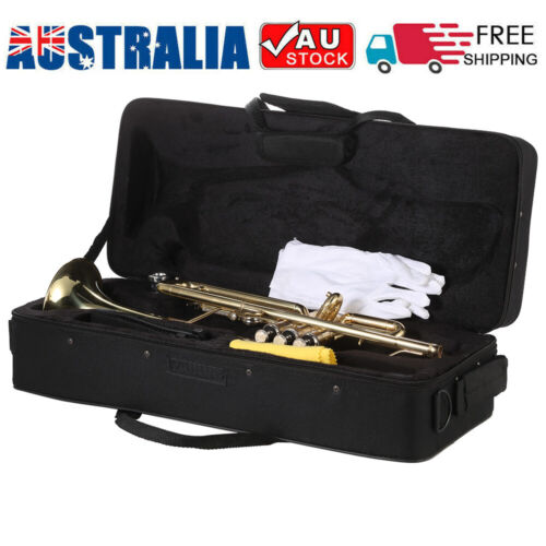 NEW TRUMPET Bb GOLD WITH CASE For SCHOOL STUDENT GENGINER