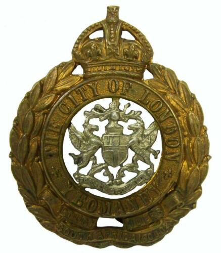 City of London Yeomanry Rough Riders South Africa 1900 Army Brass Badge